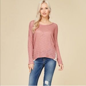 *NEW* PINK LONG SLEEVE LACED TOP